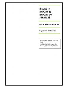 ISSUES IN IMPORT & EXPORT OF SERVICES
