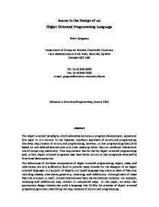 Issues in the Design of an Object Oriented Programming Language
