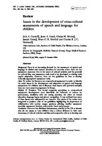 Issues in the development of cross-cultural assessments of speech and language for children