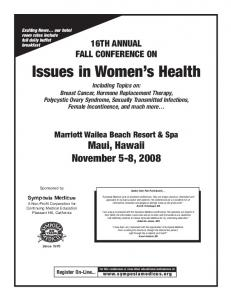 Issues in Women s Health