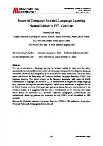 Issues of Computer Assisted Language Learning Normalization in EFL Contexts