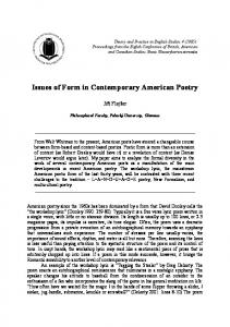 Issues of Form in Contemporary American Poetry