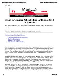 Issues to Consider When Selling Cattle on a Grid