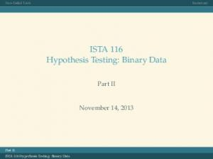 ISTA 116 Hypothesis Testing: Binary Data