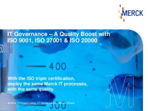 IT Governance A Quality Boost with ISO 9001, ISO & ISO 20000