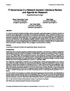 IT Governance in a Network Context: Literature Review and Agenda for Research