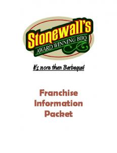 It s more than Barbeque! Franchise Information Packet