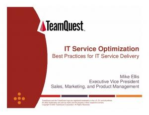 IT Service Optimization Best Practices for IT Service Delivery