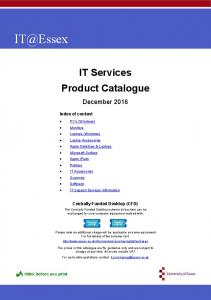 IT Services Product Catalogue. December 2016
