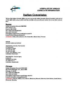 Italian Consulates ATHENA STUDY ABROAD CONSULATE INFORMATION. Boston. Chicago