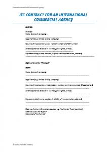 ITC CONTRACT FOR AN INTERNATIONAL COMMERCIAL AGENCY