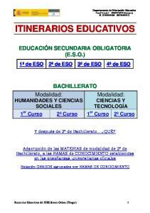 ITINERARIOS EDUCATIVOS