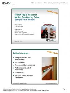 ITSMA Rapid Research Market Positioning Pulse Sample Final Report