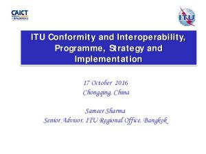 ITU Conformity and Interoperability, Programme, Strategy and Implementation