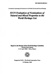 IUCN Evaluation of Nominations of Natural and Mixed Properties to the World Heritage List