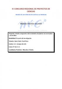 IV CONCURSO REGIONAL DE PROYECTOS DE CIENCIAS. Modelo informe-resumen