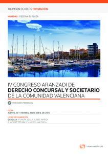 IV CONGRESO ARANZADI DE DERECHO CONCURSAL Y SOCIETARIO DE LA COMUNIDAD VALENCIANA