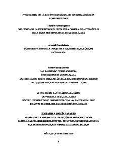 IV CONGRESO DE LA RED INTERNACIONAL DE INVESTIGADORES EN COMPETITIVIDAD