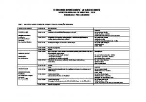 IV CONGRESO INTERNACIONAL - VII CURSO NACIONAL SOCIEDAD PERUANA DE GERIATRIA PROGRAMA PRE-CONGRESO