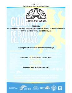 IV Congreso Nacional de Estudios del Trabajo