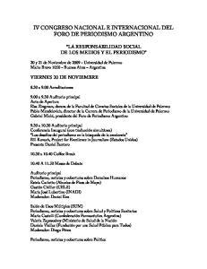 IV CONGRESO NACIONAL E INTERNACIONAL DEL FORO DE PERIODISMO ARGENTINO