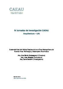 IV Jornadas de Investigación CAEAU