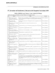 IV Jornadas de Residentes y Becarios del Hospital Garrahan 2009
