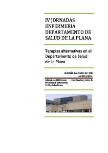 IV JORNADAS ENFERMERIA DEPARTAMENTO DE SALUD DE LA PLANA