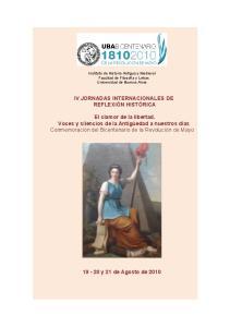 IV JORNADAS INTERNACIONALES DE REFLEXIÓN HISTÓRICA