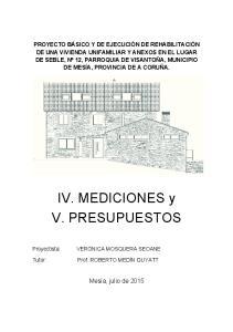 IV. MEDICIONES y V. PRESUPUESTOS