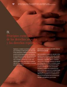 IV. Principios esenciales de los derechos sexuales y los derechos reproductivos