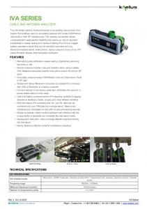 IVA SERIES CABLE AND ANTENNA ANALYZER FEATURES TECHNICAL SPECIFICATIONS