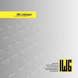 IWG catalogue. our know-how is your success