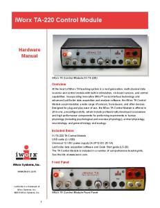iworx TA-220 Control Module
