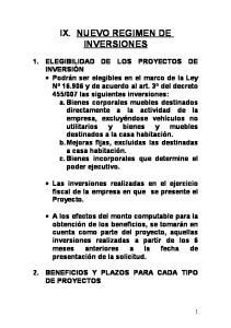 IX. NUEVO REGIMEN DE INVERSIONES