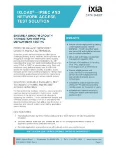 IXLOAD IPSEC AND NETWORK ACCESS TEST SOLUTION