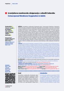 Izvantjelesna membranska oksigenacija u odraslih bolesnika Extracorporeal Membrane Oxygenation in Adults