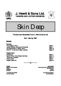 J. Hewit & Sons Ltd. TANNERS AND LEATHER DRESSERS. The biannual Newsletter from J. Hewit & Sons Ltd. No.3 - Spring 1997