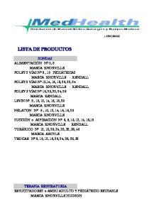 J LISTA DE PRODUCTOS