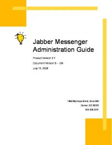 Jabber Messenger Administration Guide