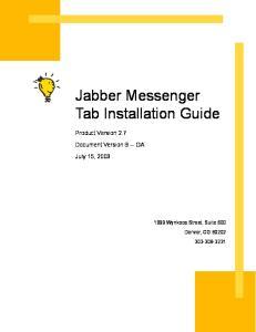 Jabber Messenger Tab Installation Guide