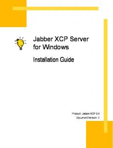 Jabber XCP Server for Windows Installation Guide