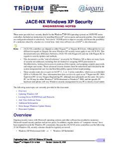 JACE-NX Windows XP Security