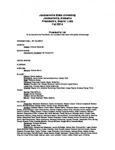 Jacksonville State University Jacksonville, Alabama President s, Deans Lists Fall 2014