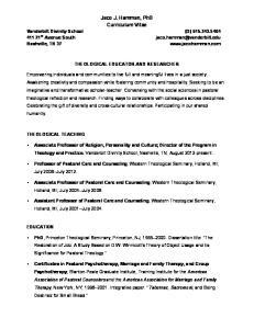 Jaco J. Hamman, PhD Curriculum Vitae
