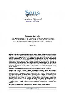 Jacques Derrida: The Perchance of a Coming of the Otherwoman