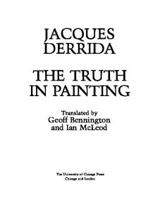 JACQUES DERRIDA THETRUTH IN PAINTING