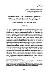 JAD. Decentralization, Local Government Capacity and Efficiency of Health Service Delivery in Uganda