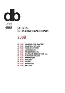 JAHRES- INHALTSVERZEICHNIS