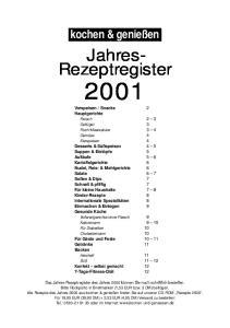 Jahres- Rezeptregister